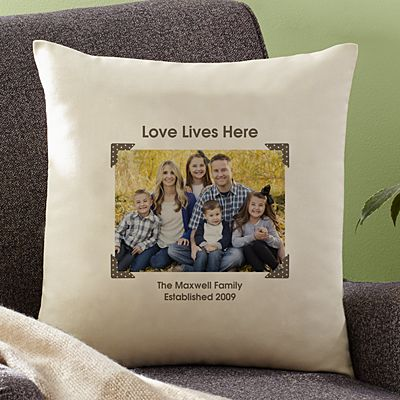 Vintage Photo Message Throw Pillow