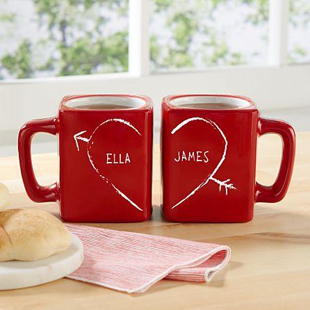 Half Heart Square Red Mug Set Personal Creations