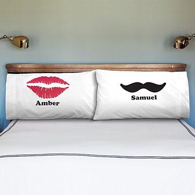 Lips & Mustache Pillowcases - Set of 2