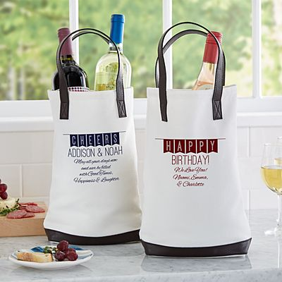 Banner Message Two Bottle Wine Tote