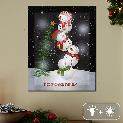 TwinkleBright® LED Lovable Snowman Canvas