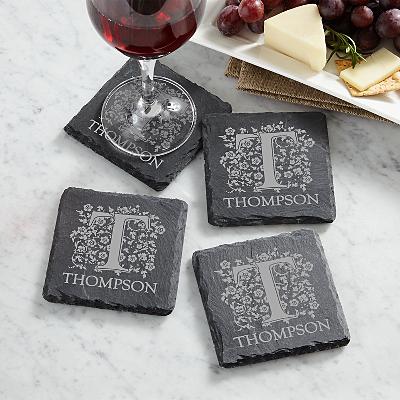Scroll & Letter Slate Coasters