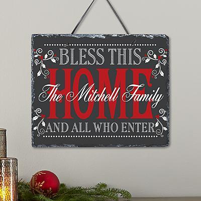 Christmas Bless The Home Slate
