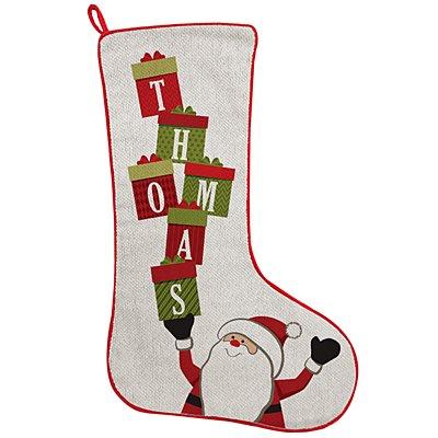 Stacking Presents Name Stocking - Santa
