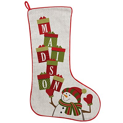Stacking Presents Name Stocking - Snowman