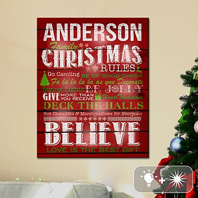 TwinkleBright® LED Family Christmas Rules Canvas