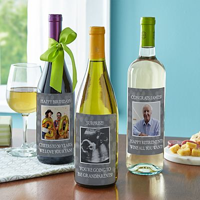 Custom Photo Wine Labels (Set of 4)