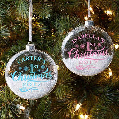Child's Christmas Glitter Glass Ornament