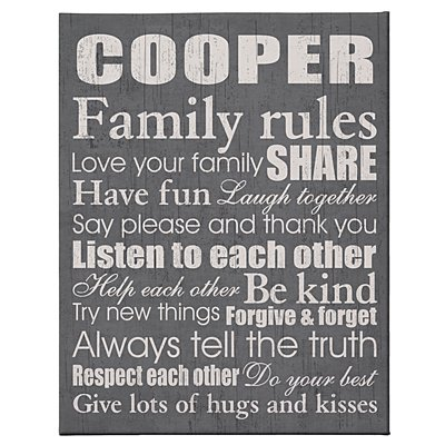 Family Rules Canvas - 11x14 Gray