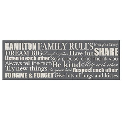 Family Rules Canvas - 9x27 Gray