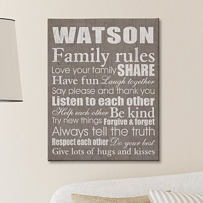 Family Rules Canvas - 11x14 Taupe
