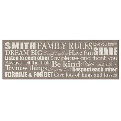 Family Rules Canvas - 9x27 Taupe