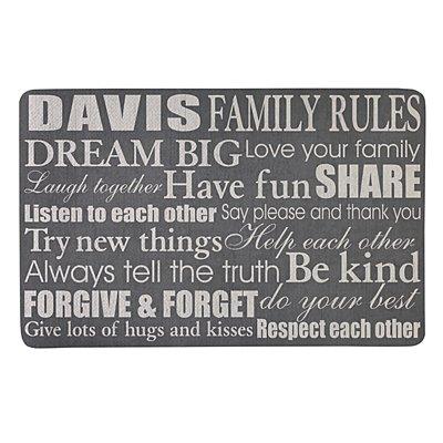 Family Rules Doormat-17x27 - Gray