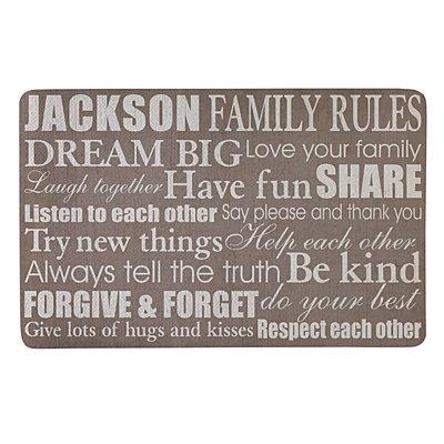 Family Rules Doormat-17x27 - Tan