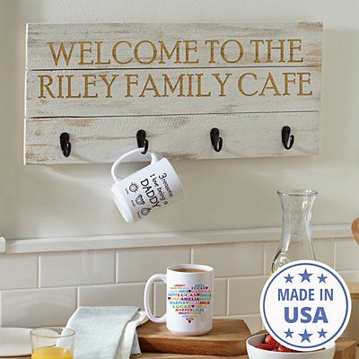 Any Message Wooden Mug Rack