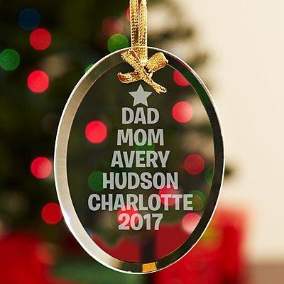Family Name Tree Glass Ornament