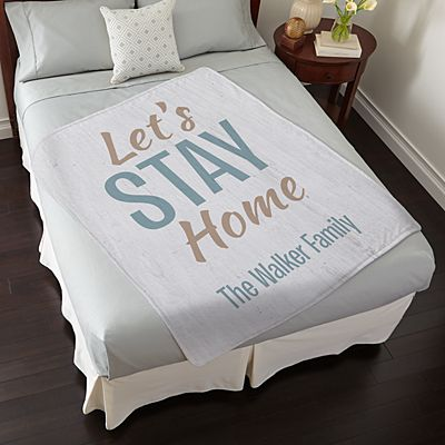 Let's Stay Home Plush Blanket