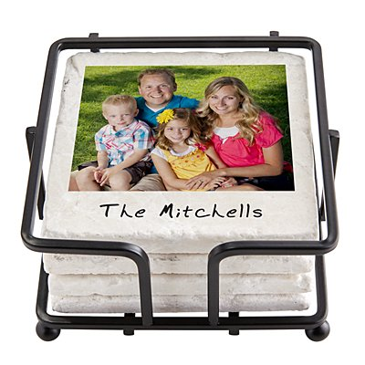 Memories Shared Photo Coasters w/Holder - Multiple Photo