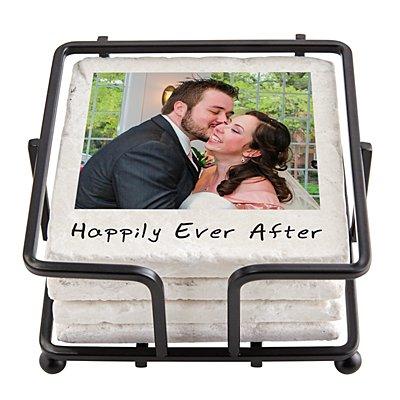 Memories Shared Photo Coasters w/Holder - Single Photo