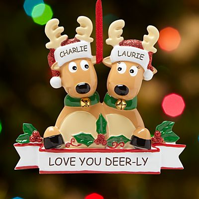 Rocking Reindeer Family Couple Ornament