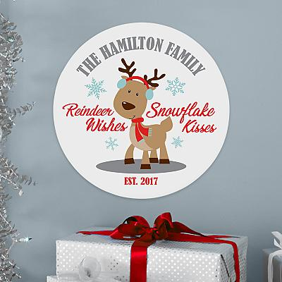 Reindeer Wishes Circle Wood Plaque