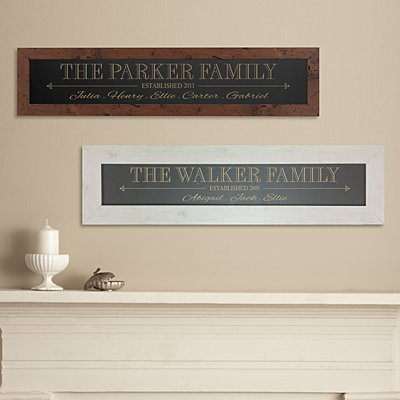 The Whole Family Framed Wood Sign
