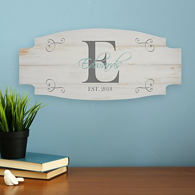 Family Initial & Name Wood Sign