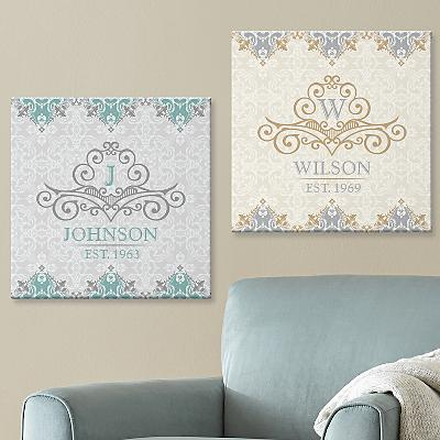 Elegant Monogram & Name Canvas