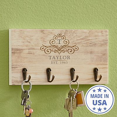 Elegant Monogram & Name Key Hook