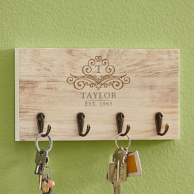 Elegant Monogram & Name Key Hook