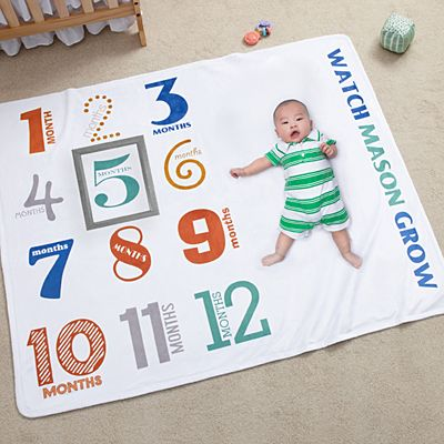 Watch Me Grow Milestone Baby Blanket