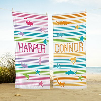 Swimming with Stripes Beach Towel