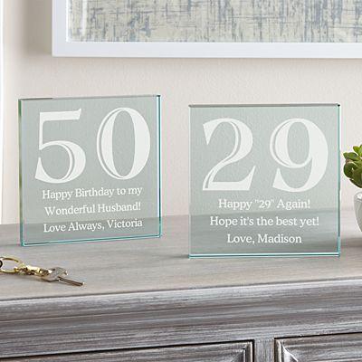 Any Message Birthday Glass Block