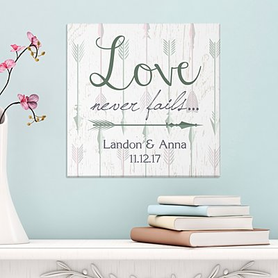 Love Never Fails Arrow Canvas