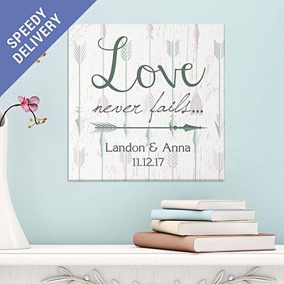Love Never Fails Arrow Canvas