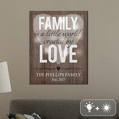TwinkleBright® LED Family Love with Heart Canvas