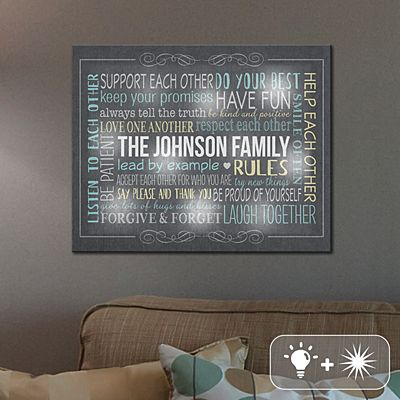 TwinkleBright® LED Our Family Rules Canvas