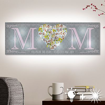 TwinkleBright® LED Mom's Heart Photo Canvas