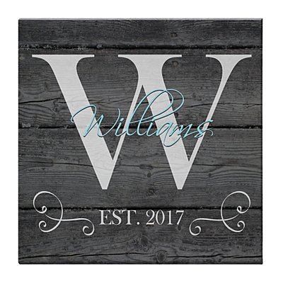 Family Initial & Name Canvas 27x27 cm Grey-Unframed