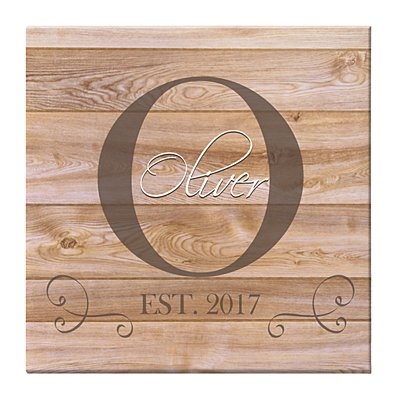 Family Initial & Name Canvas - 40x40 cm Natural-Unframed