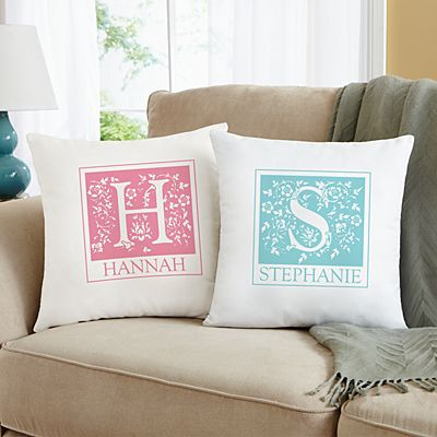Floral Initial Throw Pillow
