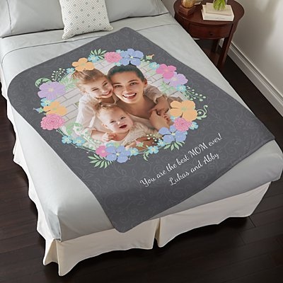 Floral Photo Plush Blanket