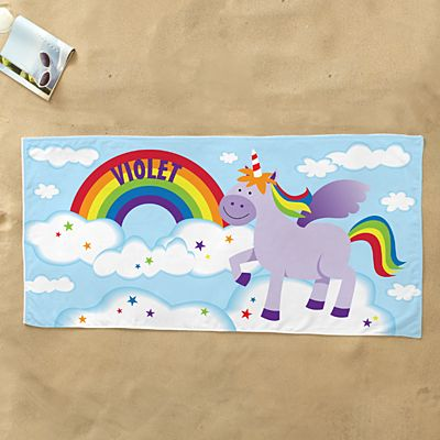 Rainbow Unicorn Beach Towel