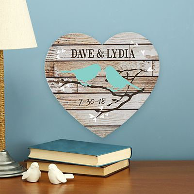 Sweet Lovebirds Wooden Heart
