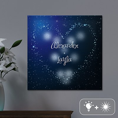 TwinkleBright® LED Heart in Stars Canvas
