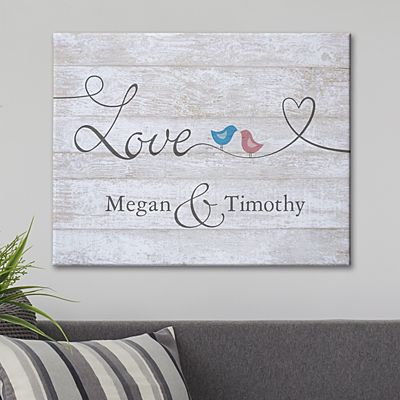 Lovebirds on a Wire Canvas