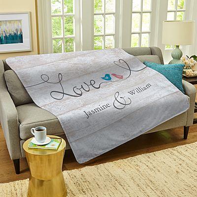 Lovebirds on a Wire Plush Blanket