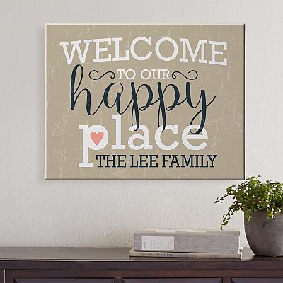 Welcome to Our Happy Place Canvas