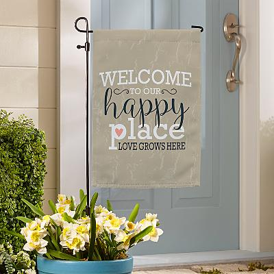 Welcome to Our Happy Place Garden Flag