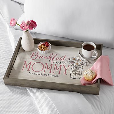 Breakfast in Bed Wood Serving Tray
